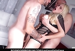 CASTING ALLA ITALIANA - MMF threesome audition with and horny Ukrainian blonde Vittoria Dolce