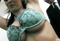 Crazy Brunette Hottie Getting Fucked In Verge on Threesome