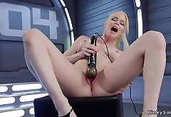 Pale heavy tits solo blonde fucks machine