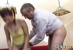 Captivating beauty pleasures her horny old taskmaster zealously